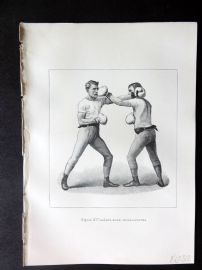 Badminton Library 1889 Boxing Print. Left-Hand Cross Counter